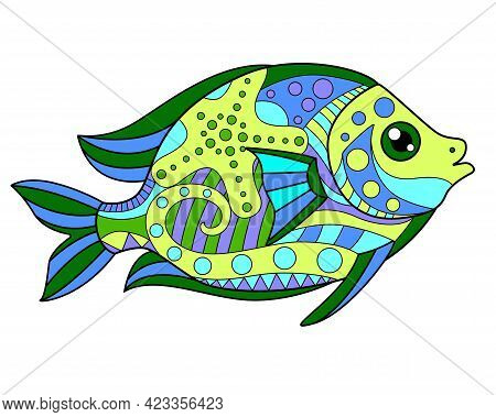 Fish - Vector Linear Full Color Picture - With Sea Animals. Template For Stained Glass, Batik Or Col