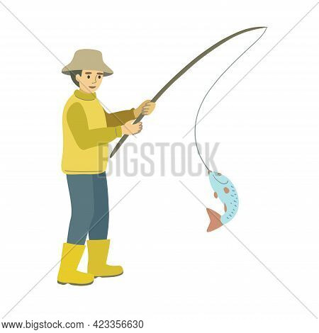 A Fisherman In Yellow Boots And A Hat Caught A Fish With A Fishing Rod Isolated On A White Backgroun