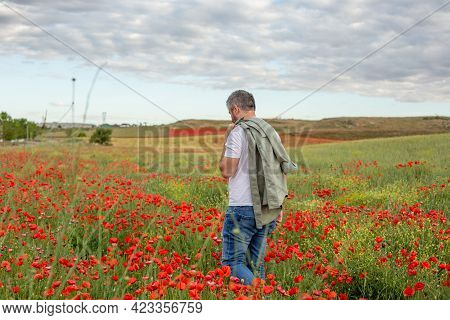 A Man Walks Through A Blooming Poppy Field In Summer. Nature Pastime Theme.