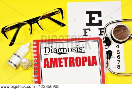 Ametropia. Text Of The Diagnosis In Ophthalmology. Treatment With Procedures And Medications.