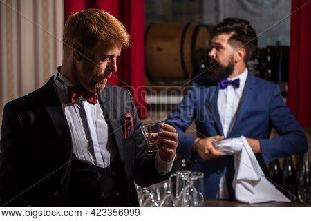 Gentlemans At Bar. Bartending. Barman At Counter. Hipster In Bar. Alcohol Beverage.
