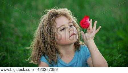 Portrait Of A Cute Child Boy. Close Up Caucasian Kids In Summer Nature Park. Closeup Head Of Funny K
