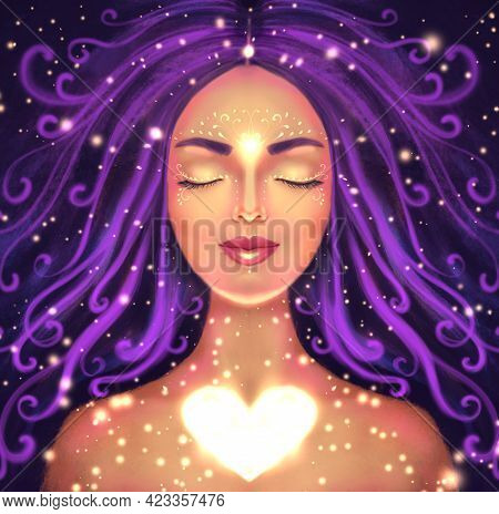 Illustration Of A Beautiful Woman On A Dark Background With A Shining Heart. Symbol Of Self-love, Sp