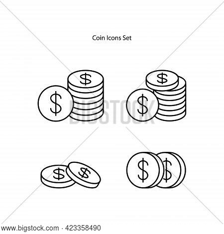 Dollar Coins Icon Isolated On White Background. Dollar Coins Icon Thin Line Outline Linear Dollar Co