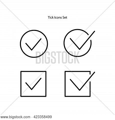 Tick Icons Set Isolated On White Background. Tick Icon Trendy And Modern Tick Symbol For Logo, Web,