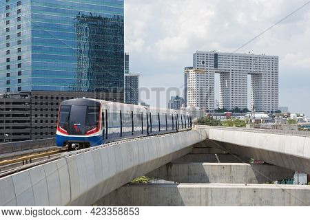 Bangkok Thailand , May 18 , 2021 : The Popular Bts Mass Transit System For People Of Bangkok, Thaila