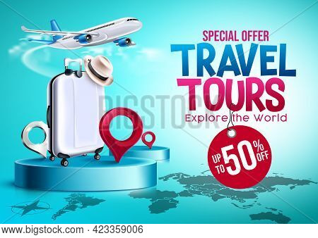 Let's Travel Vector Banner Design. Let's Travel On Summer Trip Text With Online Booking In Phone Ele