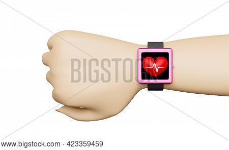 Smart Watch Wrist With Blood Pressure Heart Rate App Monitor Isolated On White Background ,concept 3