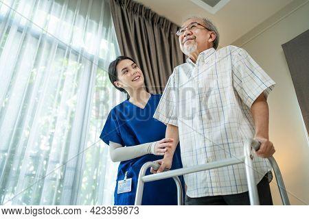 Asian Senior Elderly Disabled Man Patient Walking Slowly With Walker At Nursing Home Care. Caregiver