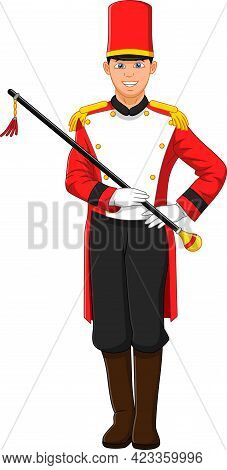 Cute Boy Wearing Marching Band Leader Costume