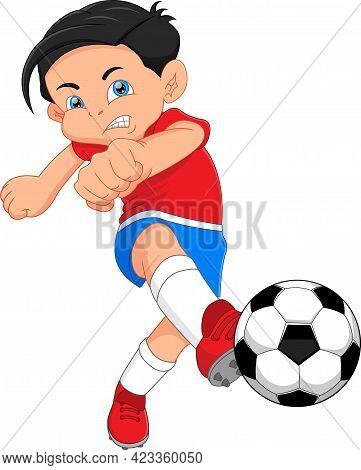 Cartoon Boy Playing Soccer And Kicking The Ball