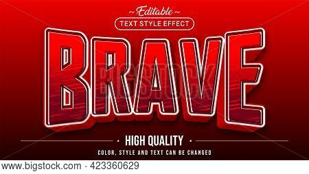 Editable Text Style Effect - Brave Text Style Theme. Graphic Design Element.