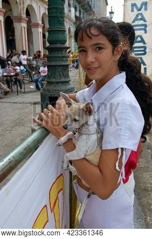 Havana, Cuba - November 20, 2005:  A Girl And Her Pet Chihuahua Spectating At The End Of The Maraban