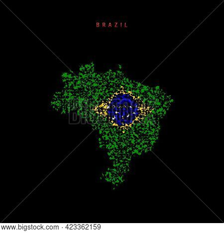 Brazil Flag Map, Chaotic Particles Pattern In The Colors Of The Brazilian Flag. Vector Illustration