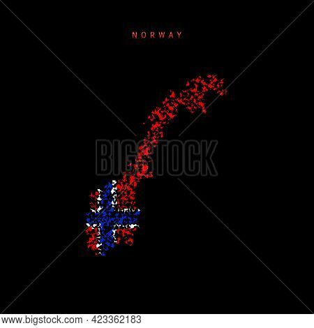 Norway Flag Map, Chaotic Particles Pattern In The Colors Of The Norwegian Flag. Vector Illustration