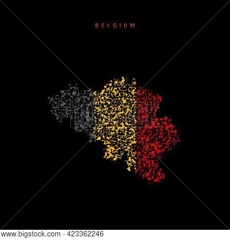 Belgium Flag Map, Chaotic Particles Pattern In The Colors Of The Belgian Flag. Vector Illustration I