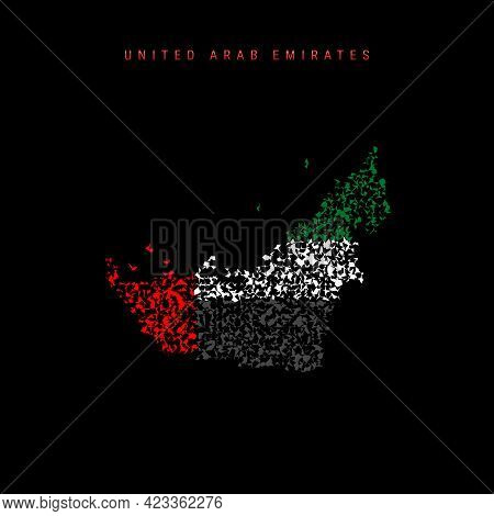 United Arab Emirates Flag Map, Chaotic Particles Pattern In The Colors Of The Uae Flag. Vector Illus