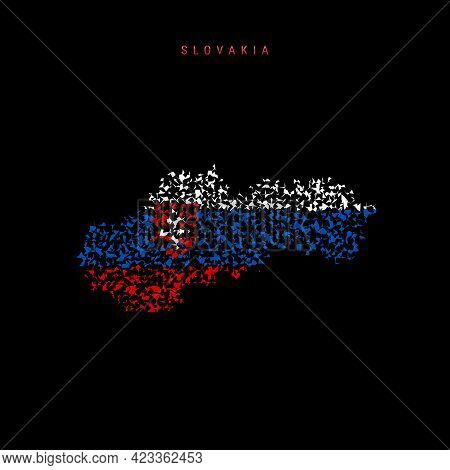Slovakia Flag Map, Chaotic Particles Pattern In The Colors Of The Slovak Flag. Vector Illustration I