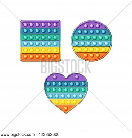 Silicone Toys Pop It Set In Cartoon Style. In The Shape Of A Heart, Circle, Square. Vector Illustrat