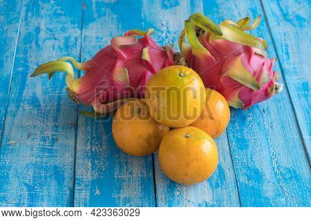Fruits Diet Concept. Different Fruits On Wooden Table.