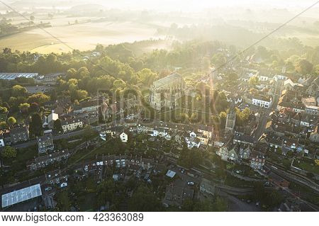 Aerial View Of Malmesbury, From The Burnivale (west) Side Of The Town On A Misty Morning