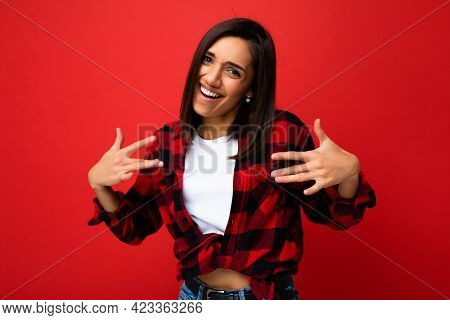 Photo Of Young Happy Positive Cool Attractive Brunette Woman With Sincere Emotions Wearing White T-s