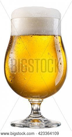 Glass of pale lager beer with a large head of beer foam isolated on white background. File contains clipping path.