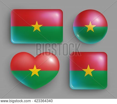 Set Of Burkina Faso Country Flag Glossy Buttons. Western Africa Country National Flag, Shiny Geometr