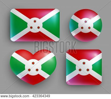 Set Of Glossy Buttons With Burund Country Flag. Eastern Africa Country National Flag, Shiny Geometri