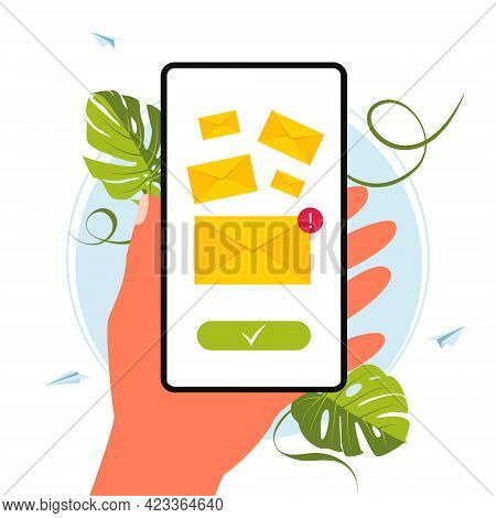 Hand Holds Phone With The Incoming Message, E-mail.sending Message.a Smartphone With A New Incoming