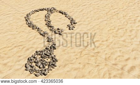 Concept conceptual stones on beach sand handmade symbol shape, golden sandy background, checkup stethoscope sign. A 3d illustration metaphor for a checkup, treatment, medicine, health and care