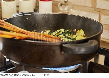Fried Zucchini With Onions In Pan, For Making Gratin With Blue Cheese, Step-by-step Recipe From The