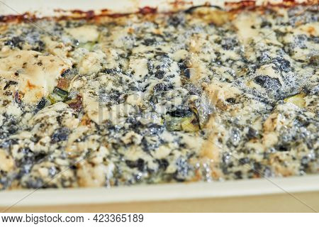 Form With Potatoes, Zucchini And Blue Cheese, Ready-made Gratin After Baking In The Oven, Step-by-st