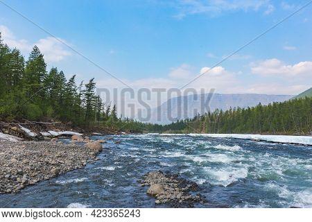 River Hoisey. Polar Day On Putorana Plateau, Taimyr, Russia