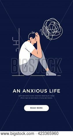 Anxiety, Stress, Mental Illnesses Banner. Young Man With Nervous Problem Feels Anxiety, Closing Face