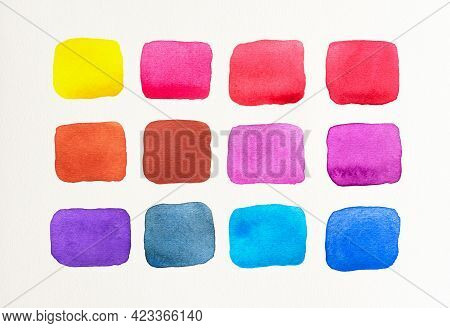 Set Of Watercolor Spot On White Background. Color Shade Collection. Multicolored Colorful Watercolor