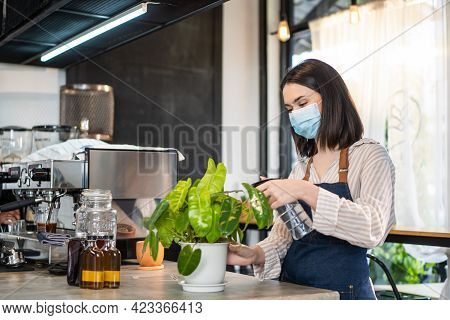Caucasian Beautiful Coffee Shop Owner Wear Protective Mask Due To Covid-19 Pandemic, Spraying Water