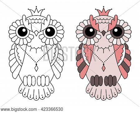 Magic Stylized Zentangle Owl, Doodle Illustration For Coloring. Decorative Wild Bird. Black Outline