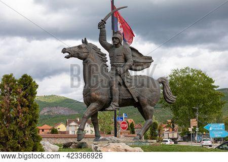 Miloš Obili?  legendary Serbian knight XIV, statue on horse in Gracanica, near Pristina, Kosovo, Serbia
