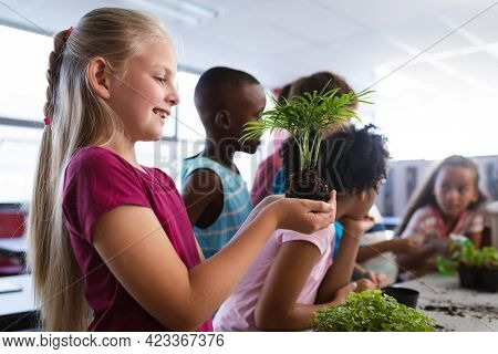 Caucasian girl smiling while holding a plant seedling in the class at school. school and education concept