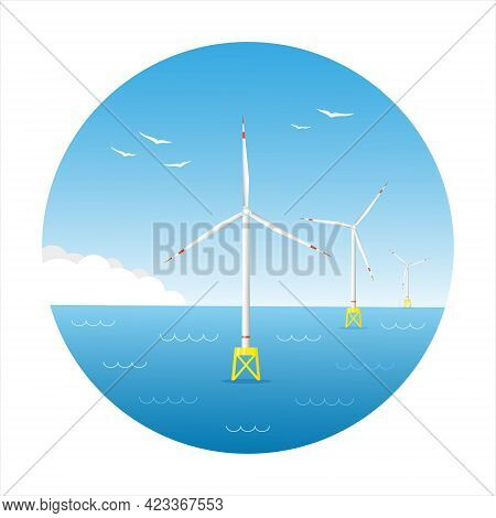 Offshore Wind Farm. Sea Wind Turbines. Seascape With Offshore Wind Generators. Circle Poster. Flat V