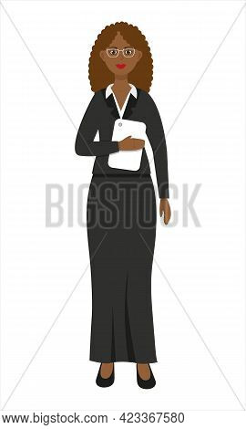 Beautiful African American Woman Wearing Formal Suit With Tablet In Her Hands. Teacher. Business Wom