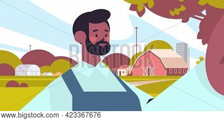 Happy African American Farmer Taking Selfie On Smartphone Camera Man Making Self Photo Farmland Back