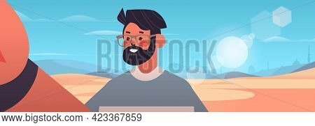 Happy Man Taking Selfie On Smartphone Camera Guy Making Self Photo Desert Landscape Background
