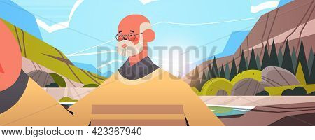 Happy Senior Man Taking Selfie On Smartphone Camera Grandfather Making Self Photo