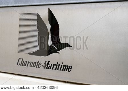 Jonzac , Aquitaine France - 06 06 2021 : Charente-maritime Logo And Sign Text Of Department In Franc