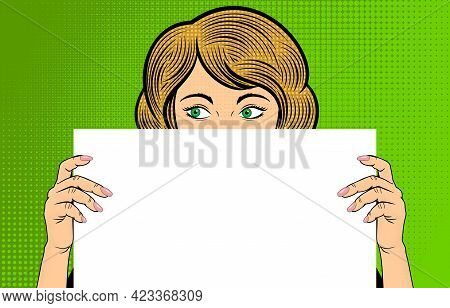 Pop Art Blonde Woman. Woman With Green Eyes Holding Blank Paper. Retro Halftone Background In Comic