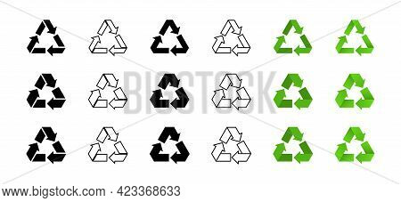 A Set Of Icons For Packaging Products. Recycling Symbol. Triangular Icon With Three Arrows. Vector E