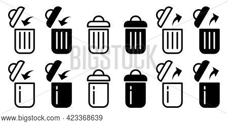 Flat Linear Design. Trash Can Isolated Icons. Black And White Open And Closed Trash Can. The Symbol