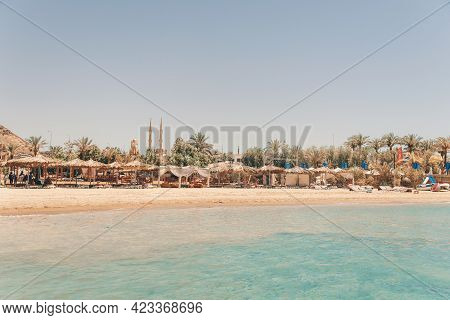 Panorama Of A View Of Beaches And The Old City From Height. Al Mustafa Mosque In The Old Town Of Sha